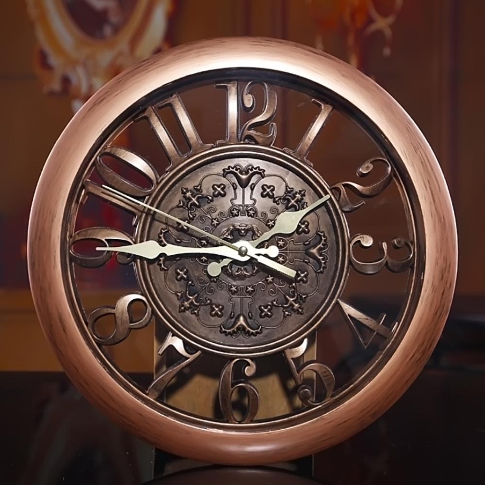 Primitive European Style Wall Mounted Time Clock Home Decoration Bronze