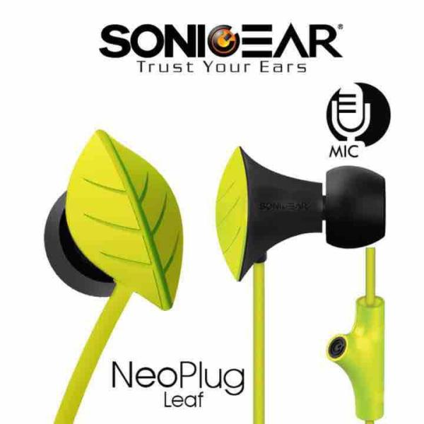 SonicGear NeoPlug Leaf Earphones with Built-In Mic Green Singapore