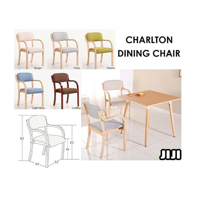 JIJI Charlton Dining Chair - Furniture / Kitchen / Washable Fabric / Modern / Plywood / Anti-Slip (FREE Delivery and Installation with 1 Year Local SG Warranty)