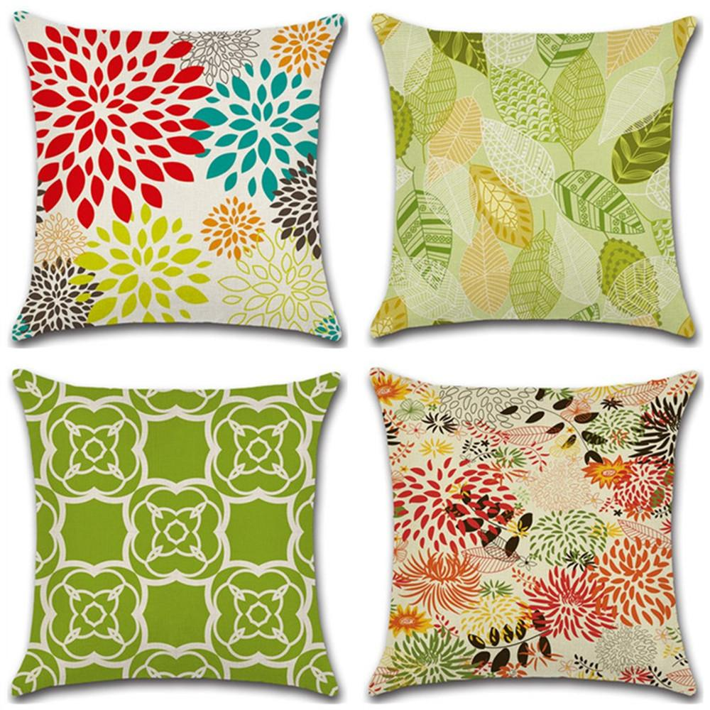 GZ Set of 4 geometric leaf chrysanthemum Flower Throw Sofa Pillow Case Cushion Cover Linen Cotton 45cm*45cm