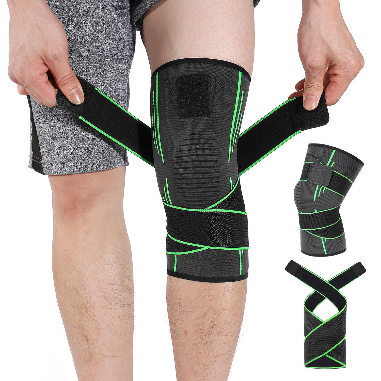 4ce6cf8175 HOMPO 3D Weaving Knee Support Brace Compression Sleeves Breathable Anti  Slip Elastic Adjustable Knee For Joint