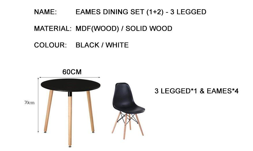 Jiji Eames Round Dining Set (1+2) - 3-Legged (free Installation) / Furniture / Tables / Kitchen (sg) By Jiji.
