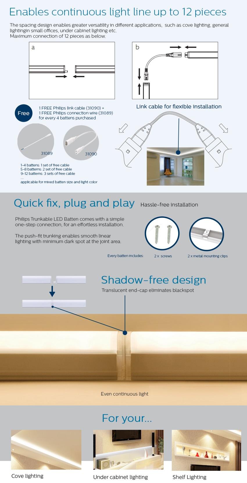 Philips 31092 Trunkable Linea LED Batten Wall Light/Cove Light 60cm  (7W/500lm) 3000K Warm White