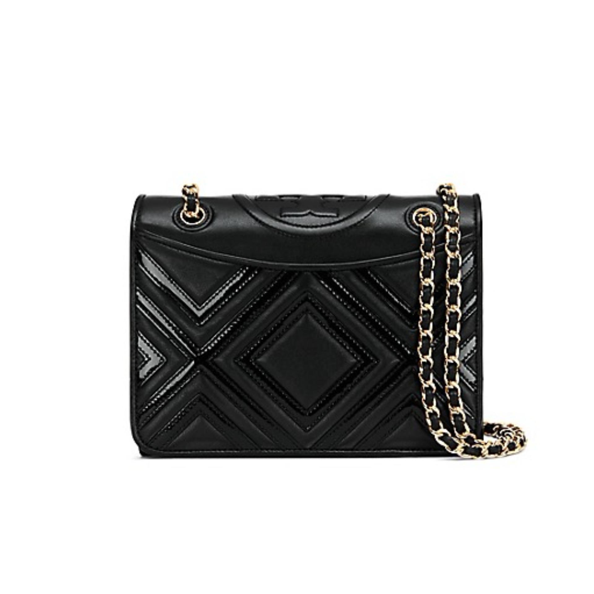 ef85f3344a Tory Burch Fleming Geo-Leather Medium Bag (Black) # 29932001