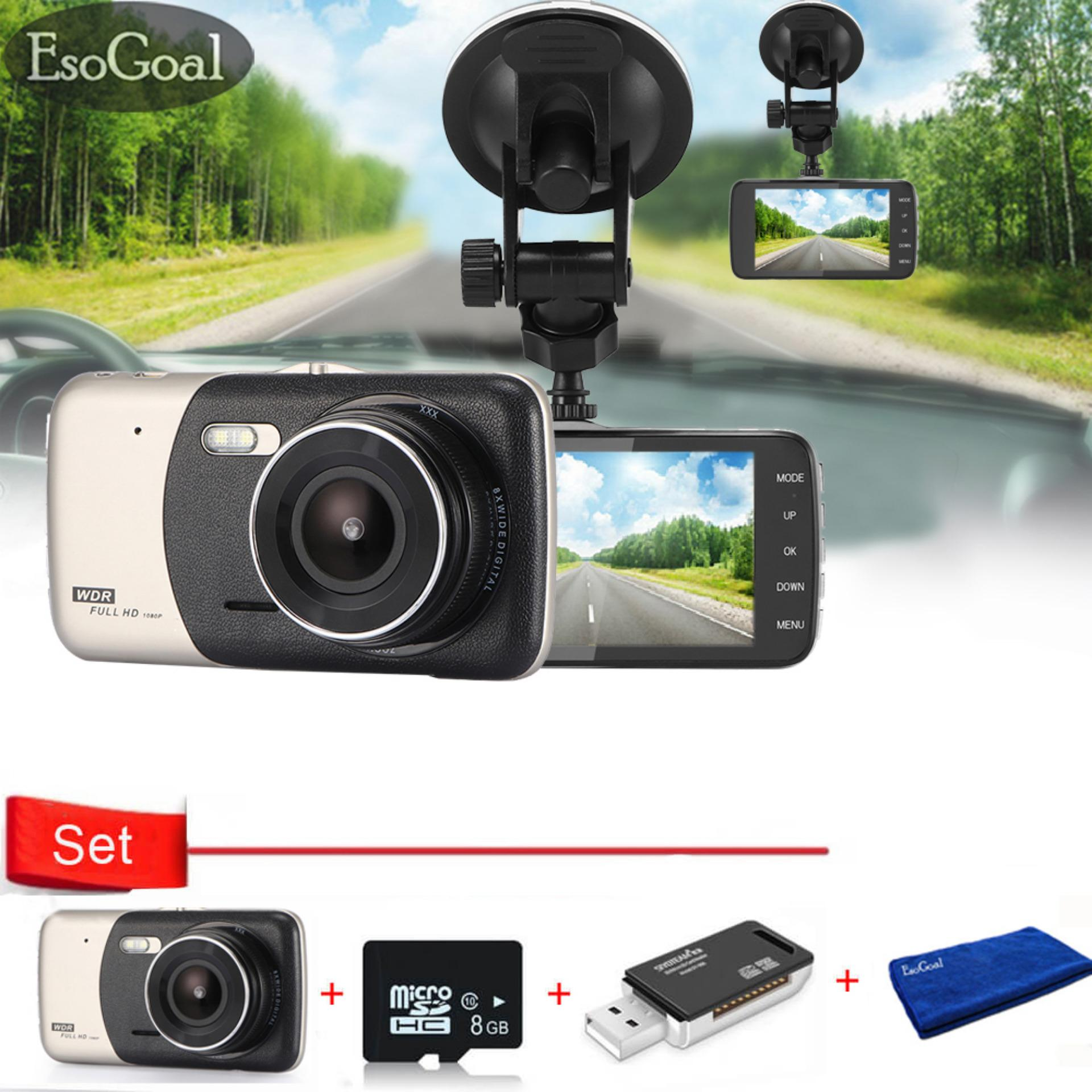 Low Price Esogoal 4 Dash Cam Front And Rear Dual Lens Camera Night Vision 1080P 140 Car Dvr Video Recorder G Sensor Vehicle Camera And Micro C 10 8G Memory Card And Usb 2 Sd Card Reader