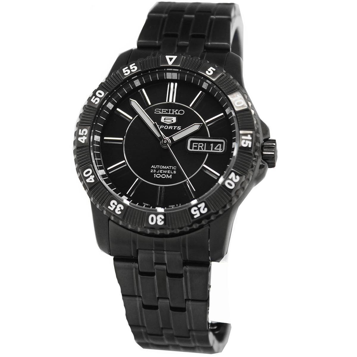Seiko 5 Sports Black Stainless-Steel Case Stainless-Steel Bracelet Mens SNZJ29K1