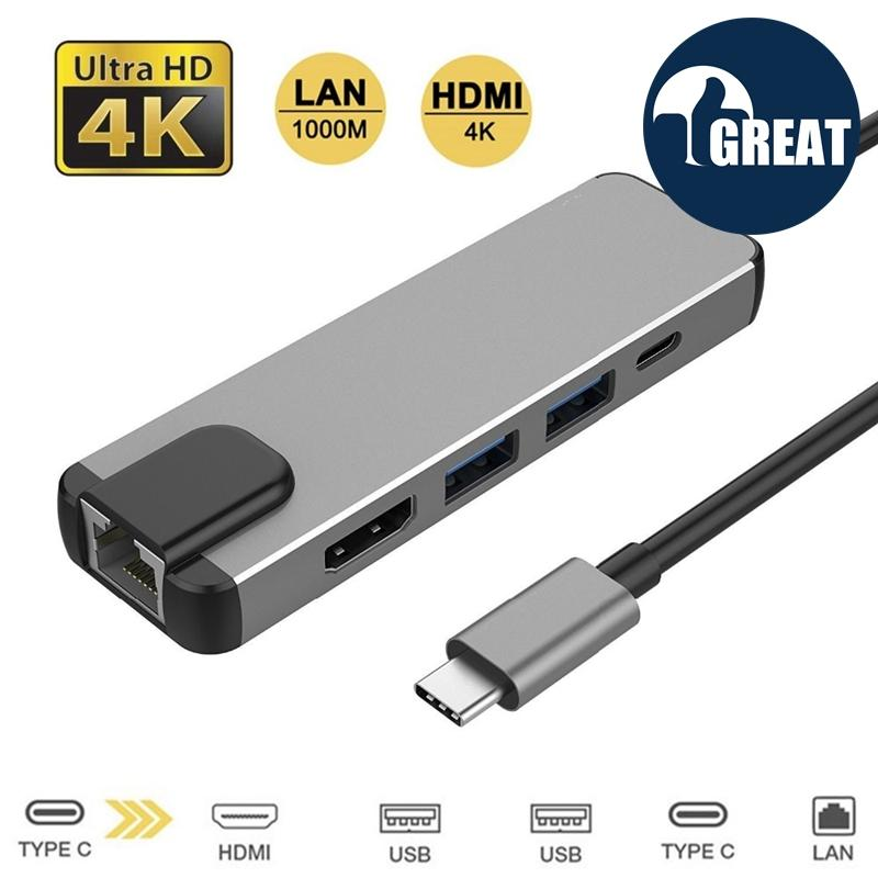 GoodGreat 5 In 1 USB Type C Hub Hdmi Rj45 Lan Adapter For Macbook Pro Thunderbolt 3, USB C To Gigabit Ethernet Adapter USB-C Charger Port - intl