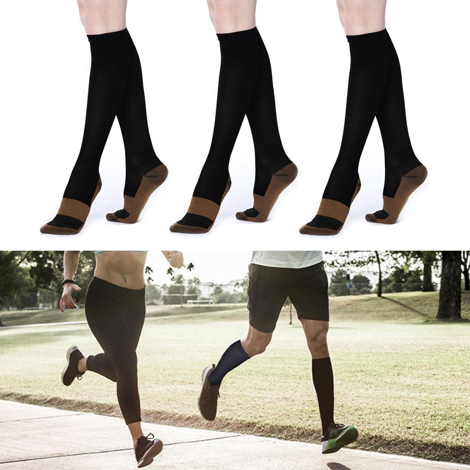 10fa2d408a 2 Pairs Miracle Copper Compression Socks Anti Fatigue Unisex Travel DVT  Comfort 0-30mmHg Graduated Men's Women's Compression Socks