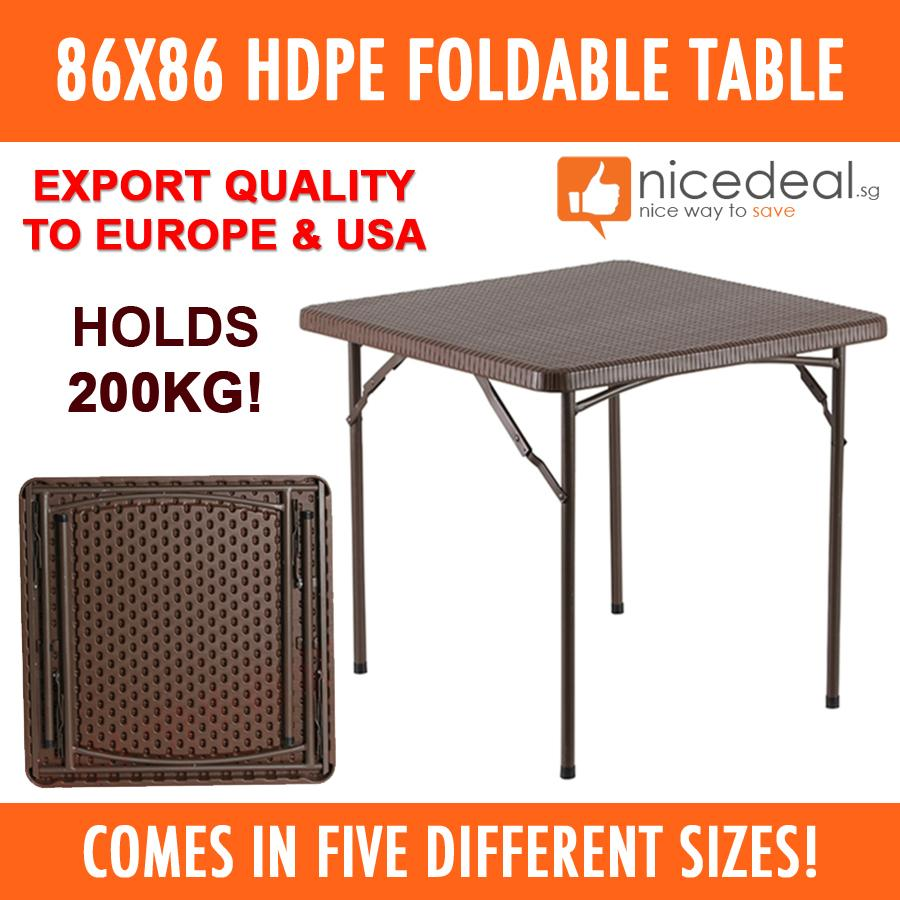 New 86x86cm HDPE Foldable Table/ Easy to Keep / 5 Different Sizes / Industrial Grade