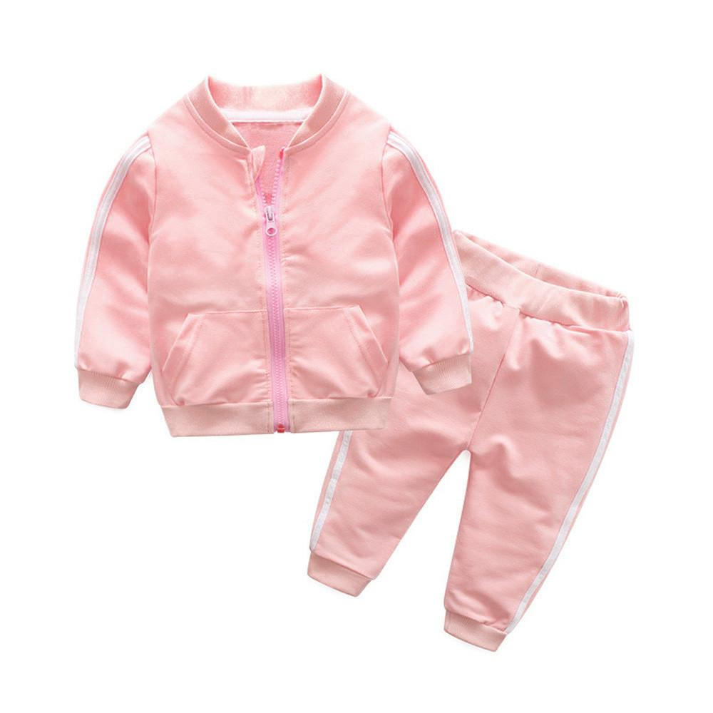 82a9dce73 CNB2C Newborn Baby Girl Long Sleeves Solid Zipper Jacket+Pants Outfit Kid  Clothes Sets Free Shipping