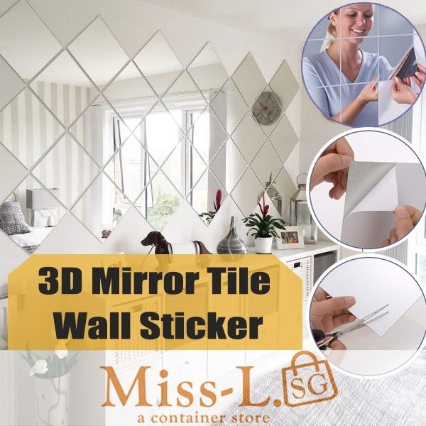 Corbe-3D Mirror Tile Wall Sticker DIY Self-adhesive High Definition