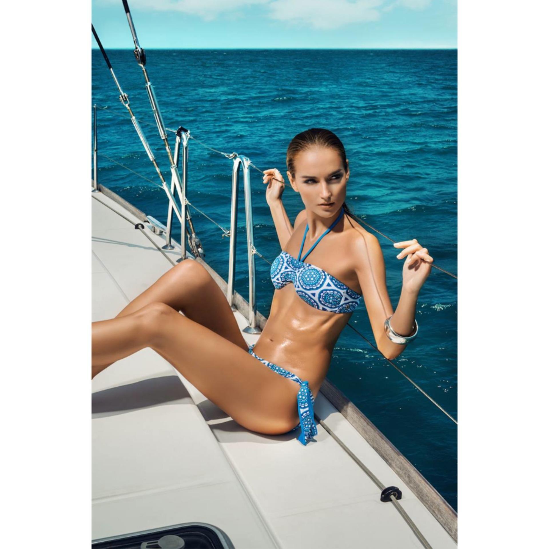 957b6f66b5 KBLU Womens Blue Gem Print Bandeau Halter Bikini Beach Swim Wear Padded Bra  Top
