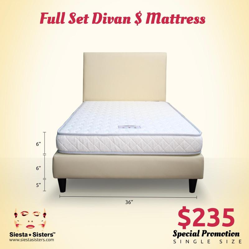 6 Inches Foam Mattress with Divan Bed Frame