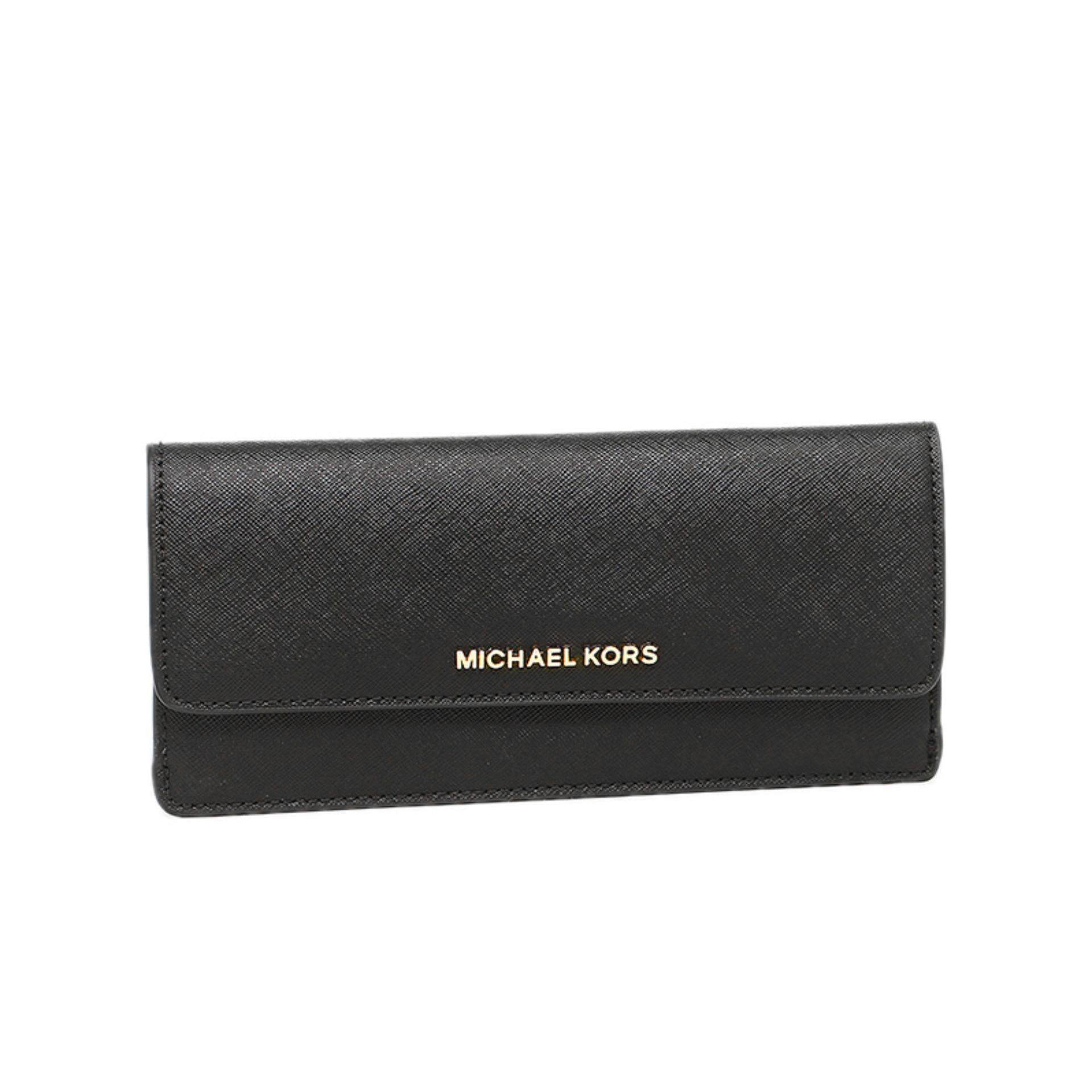bd0f75148439 Michael Kors Jet Set Travel Slim Gold Tone Saffiano Wallet (Black)    32F3GTVE7LBLACK