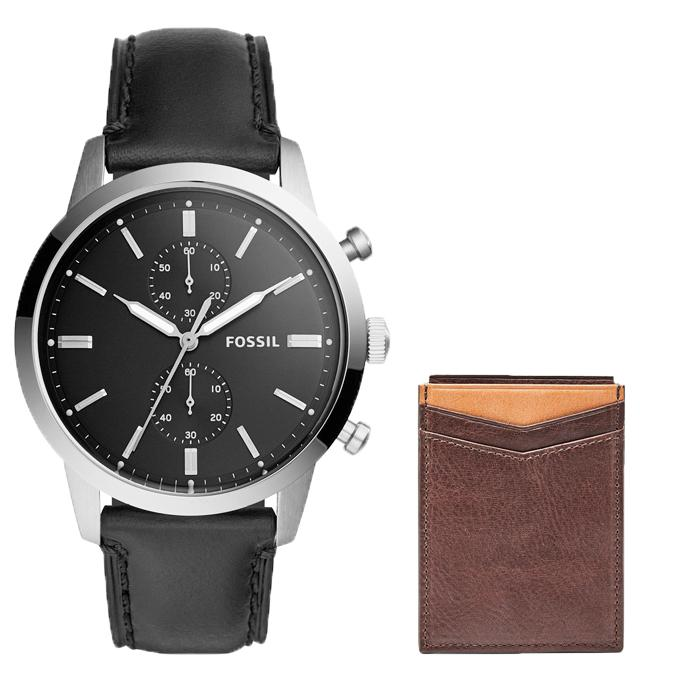 Best Fossil 44Mm Townsman Chrono Leather Watch Fs5396 Ethan Rfid Magnetic Leather Card Case Ml3933200