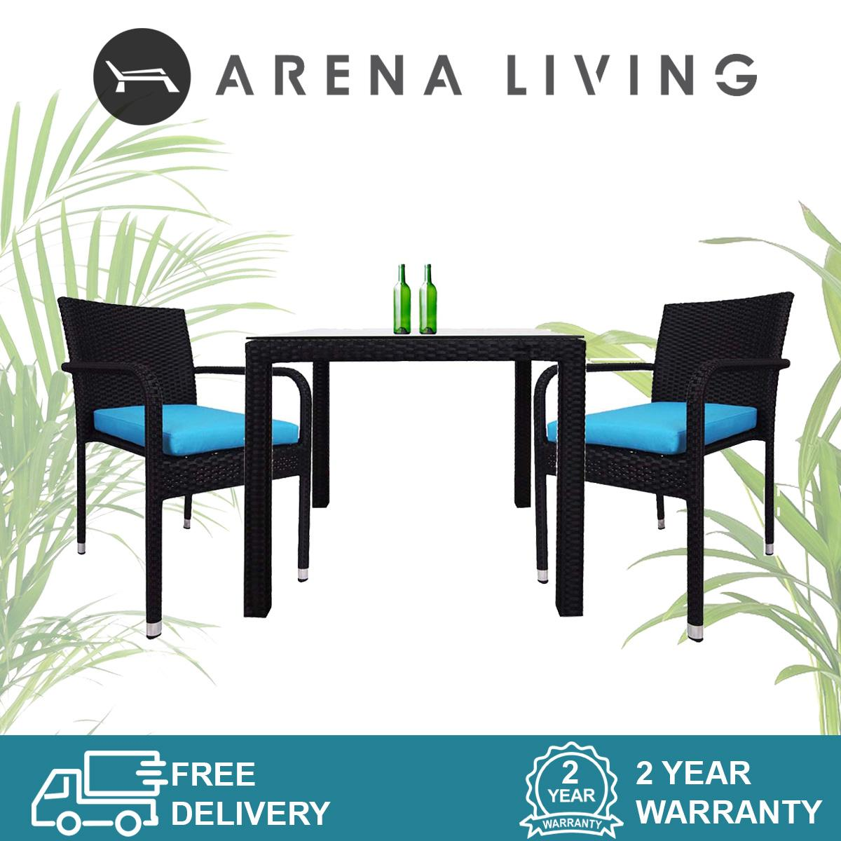 Palm 2 Chair Dining Set Blue Cushion, Outdoor Furniture by Arena Living