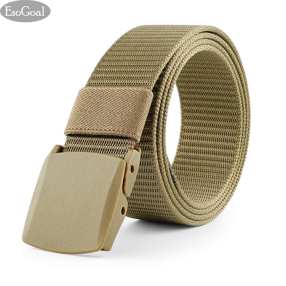EsoGoal Nylon Canvas Men Belt Breathable Military Tactical Men Waist Belt With Plastic Buckle(Black