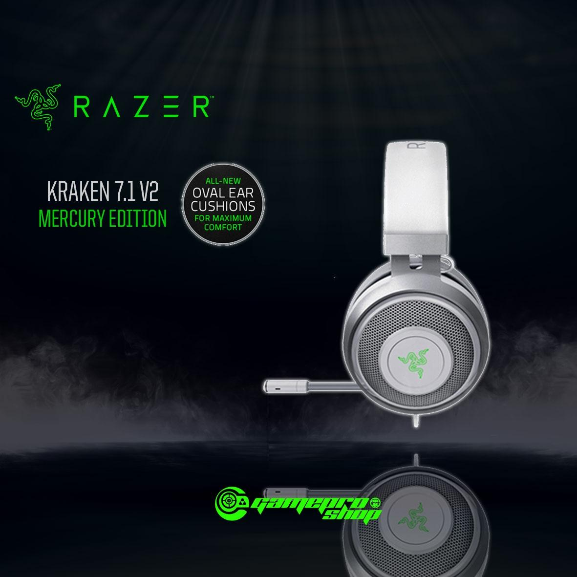Razer Kraken 7.1 V2 (Mercury White / Gunmetal Grey) Edition Oval Ear *CNY PROMO*