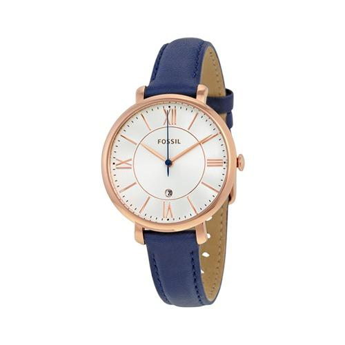 Fossil Es3843 Jacqueline Navy Leather Watch By Luxolite.