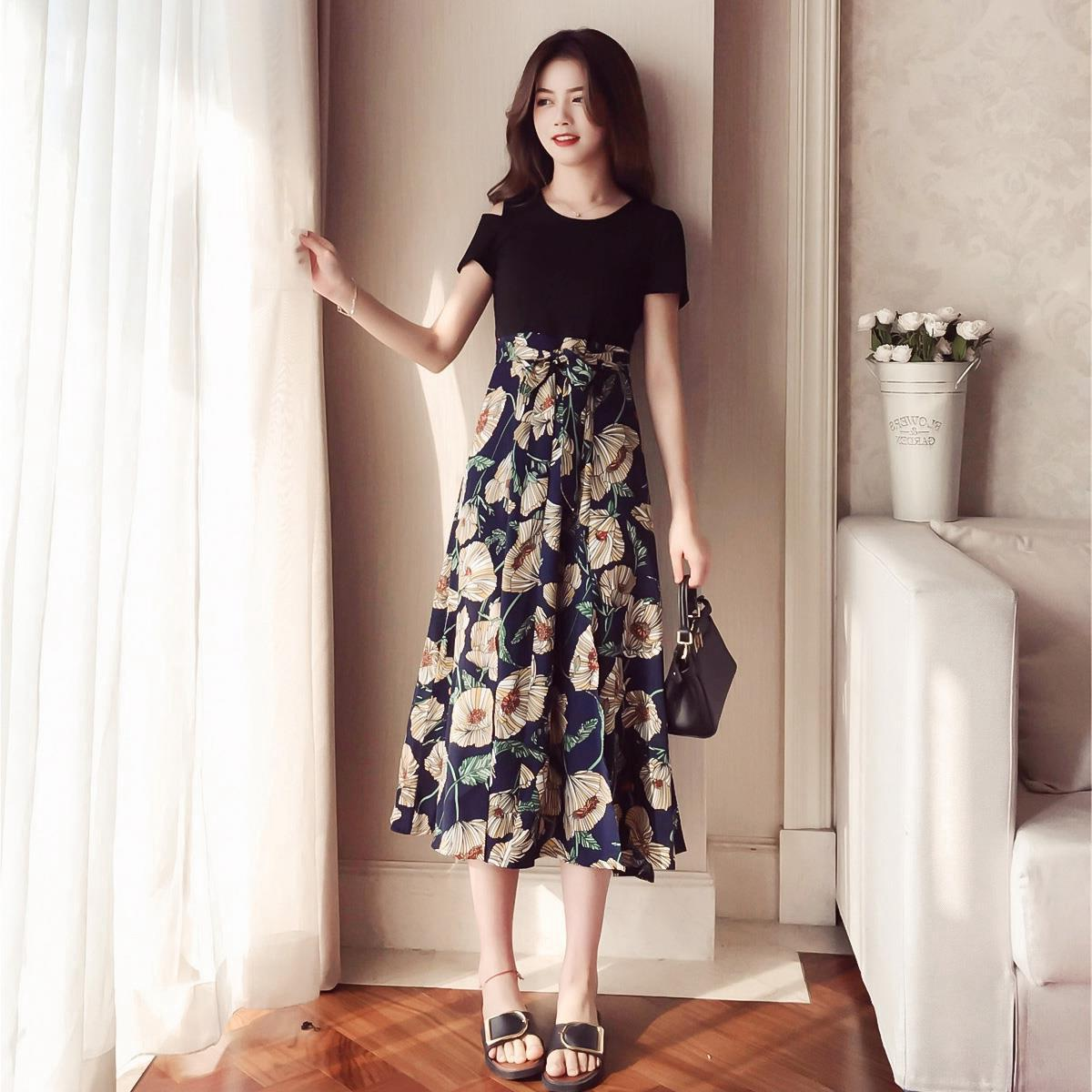 c6454557bc6 Chubby Mm Favorite Slimming Cover Belly Large Size Dress Summer Large  Girl s Hide Meat Western Style