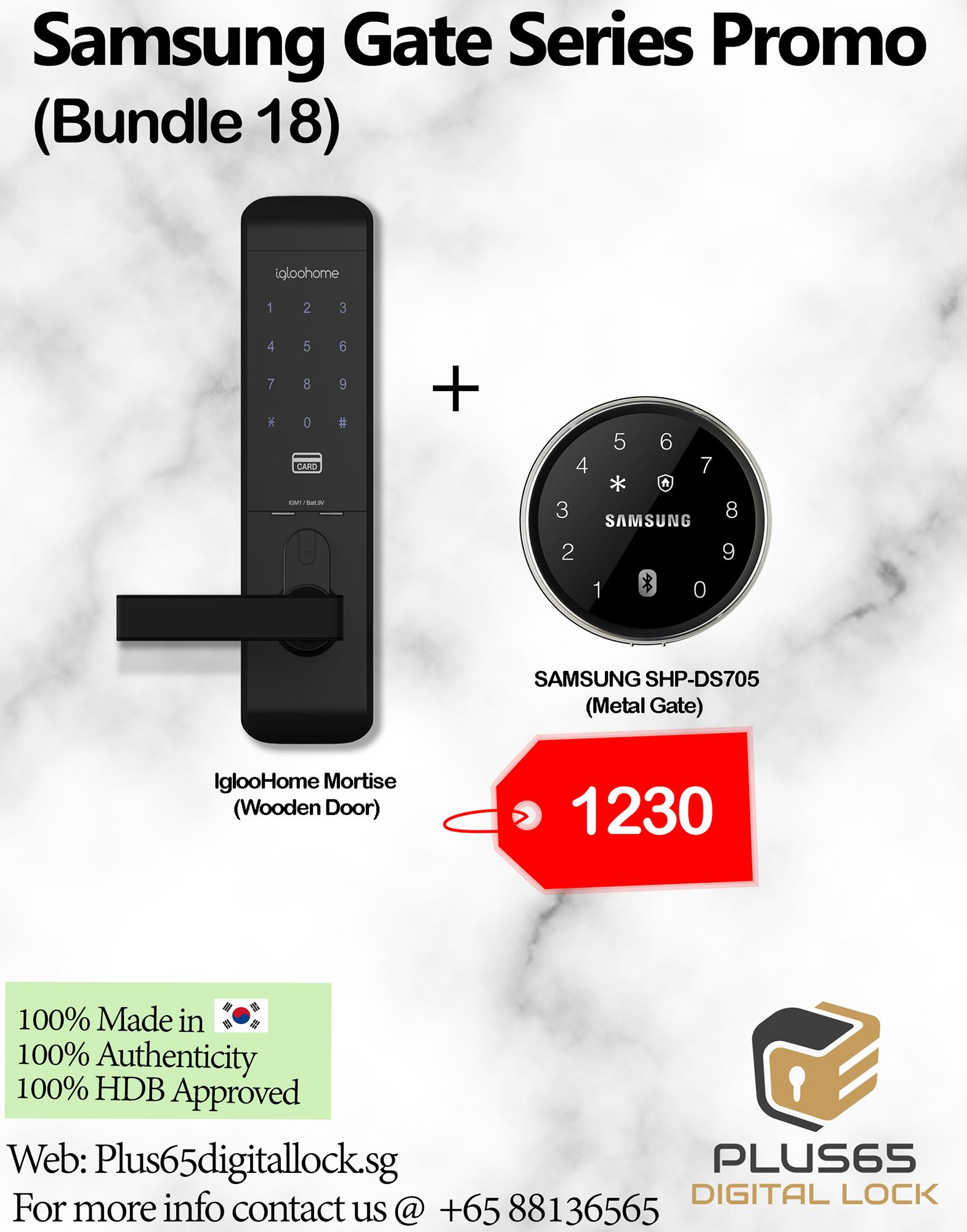 Samsung SHP-DS705 + Igloohome Mortise (Bundle 18) Digital Door Lock
