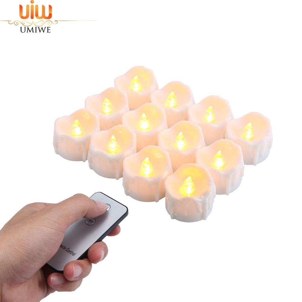 Umiwe 12pcs Realistic And Flameless Candle Flickering LED Tea Light With Remote, Warm Yellow - intl