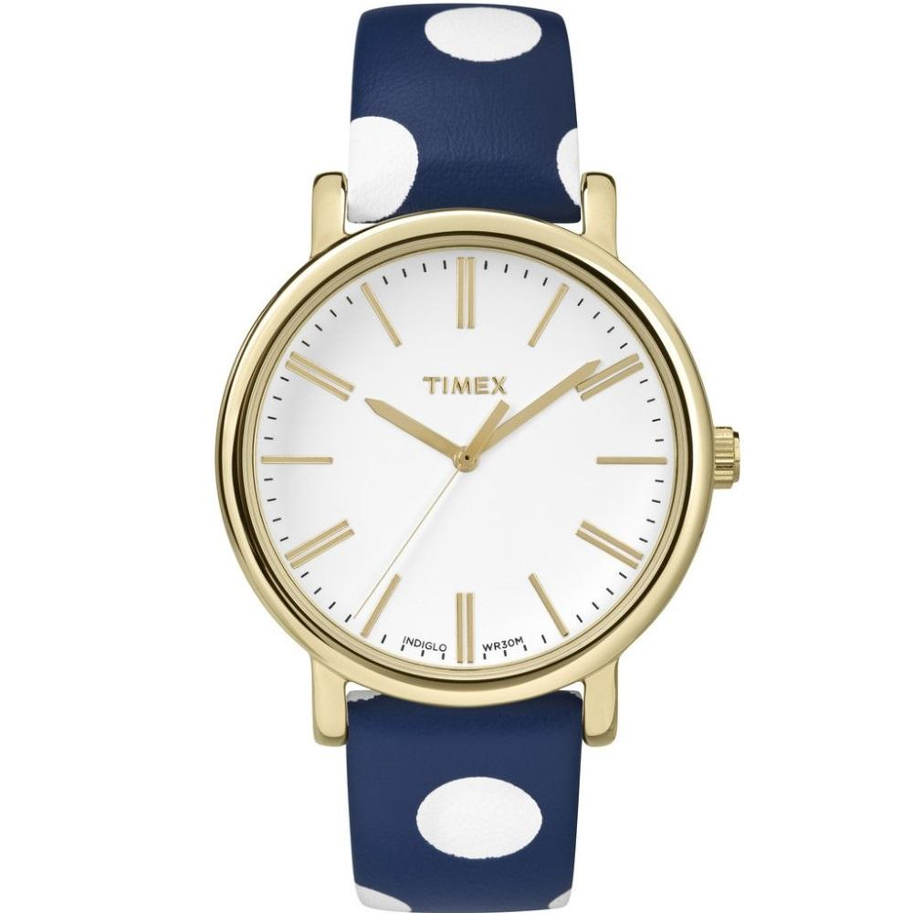 Price Compare Timex Originals Dots Navy Blue Leather Strap Tw2P63500
