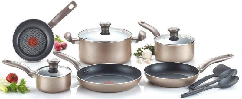 (BNIB) Authentic T-fal Metallics Nonstick Thermo-Spot Heat Indicator Cookware Set, 12-Piece, Bronze Singapore