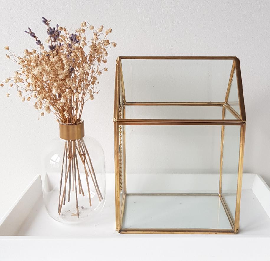 Gold geometric terrarium/ring boxes (House)