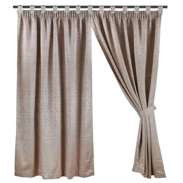 Full Length (147cm W x 228cm H) Ready Made Curtain, Jacquard Night Curtain, Plain Coffee, 3 Ways Hanging Options