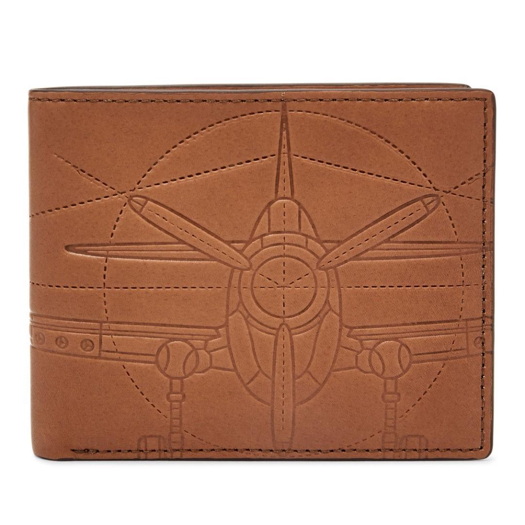 Fossil Mens Leather Wallet AXEL RFID FLIP ID BIFOLD COGNAC