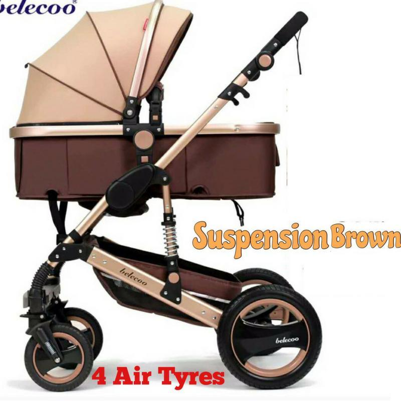 Belecoo Gold Suspension Frame German Design Stroller All Air Tyres (Khaki Brown) Singapore