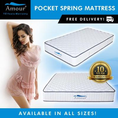 Amour 10 inch Pocket Spring Mattress Single/Super Single/Queen/King Size available 10 Years Warranty Free Delivery(Single and Queen size New stock arrive 15 Jan)