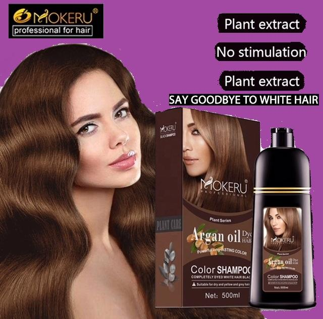 Mokeru Argan Oil Herbal Brown Hair Dye Colour Shampoo For Men Women 500m By Gemmarella.