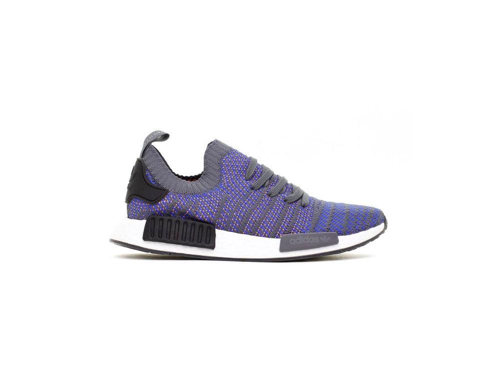adidas Originals NMD R1 STLT Primeknit Mens CQ2388 Hi-Res Blue / Core Black / Chalk Coral