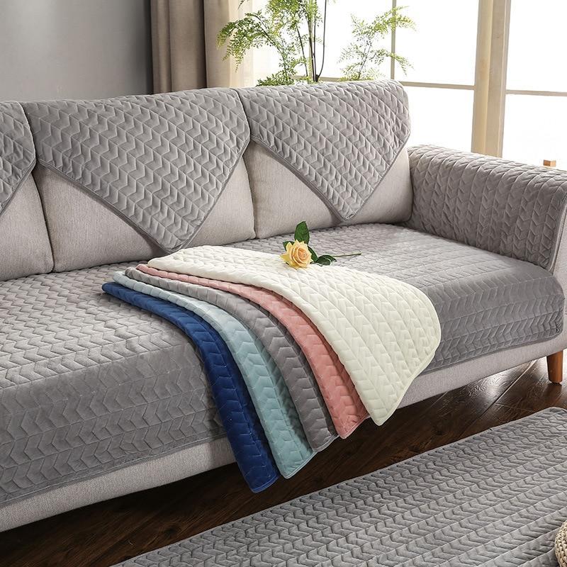 Sofa Covers for Living Room Gray Color Plush Sofa Cushion Couch Cover Modern Minimalist Corner Sofa Towel Seat Pad