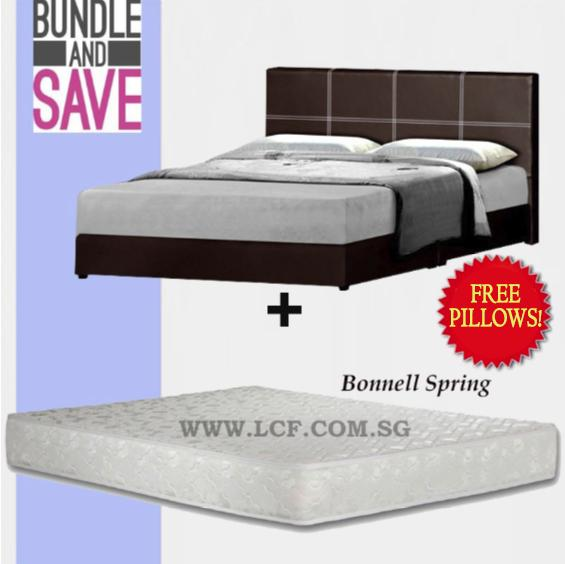 Queen Bed + Bonnel Spring mattress (FREE PILLOWS)