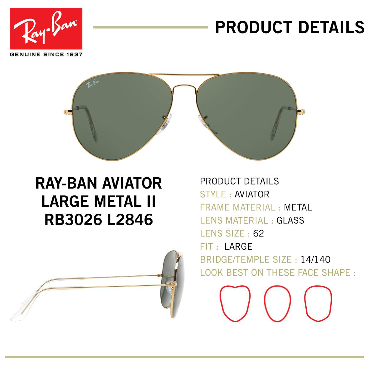 07f1f5cb25 Ray-Ban Aviator Large Metal Ii - RB3026 L2846 - size 62