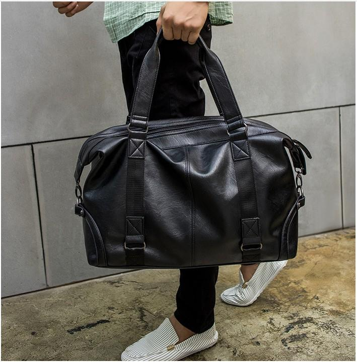 Retro street duffle bag Mens handbag Soft leather embossed waterproof travel bag