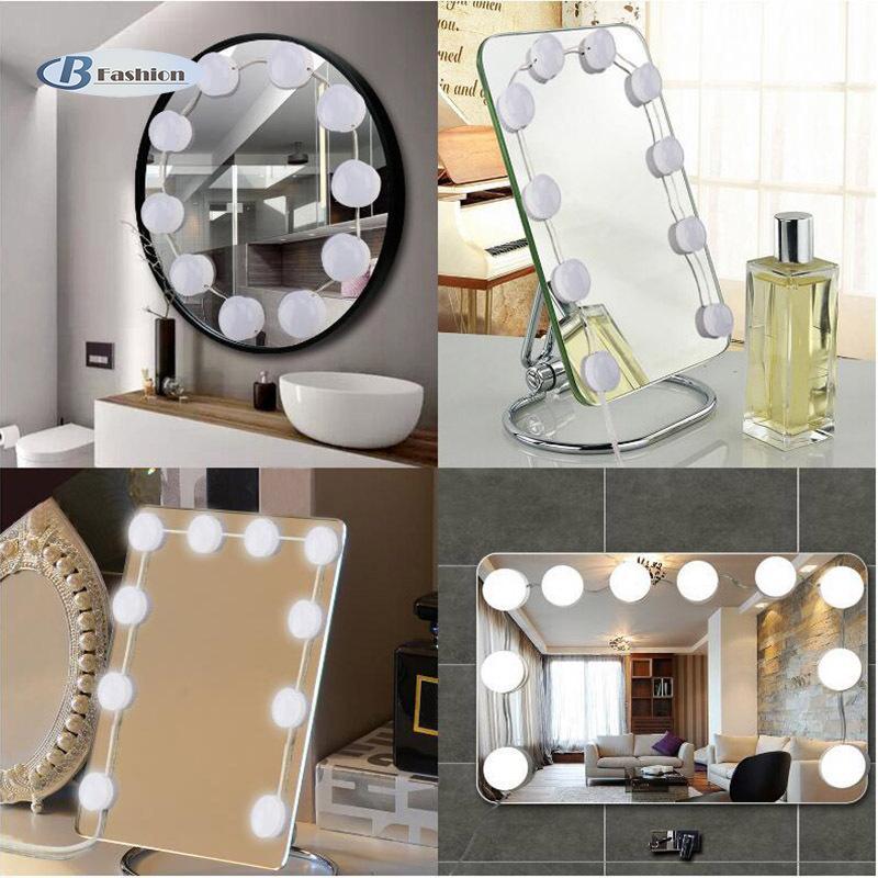 B-F Makeup Mirror LED Light Bulbs Kit USB Port Dimmable Cosmetic Dressers Mirrors Strip Lamp Set