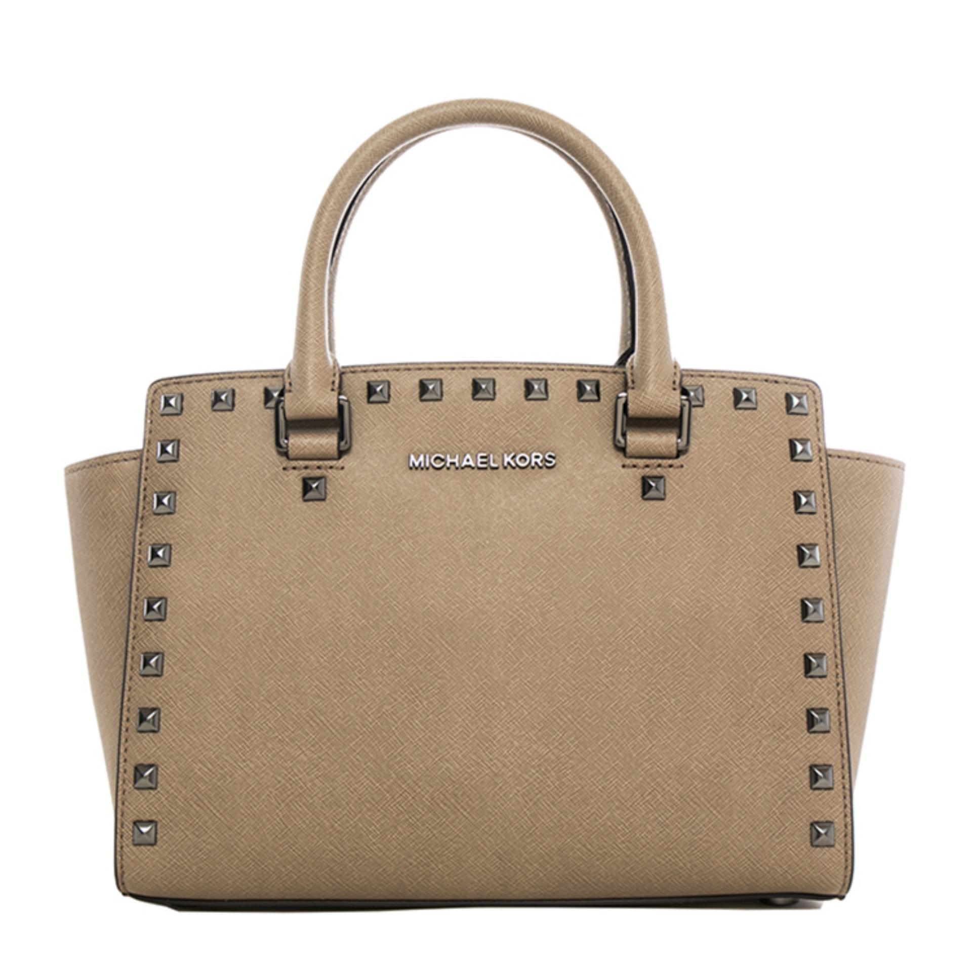 724263a7baf987 Michael Kors Selma Stud Medium Top Zip Satchel Bag (Dune) # 30T6TSMS2L-DUNE
