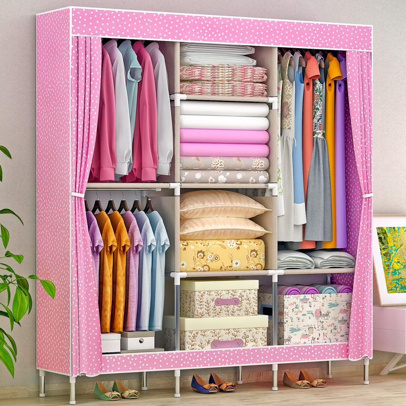 MWT1 Simple Wardrobe Large Size Cloth Wardrobe Steel Pipe Rough Reinforced Steel Frame Closet Fabric Folding Storage Cabinets