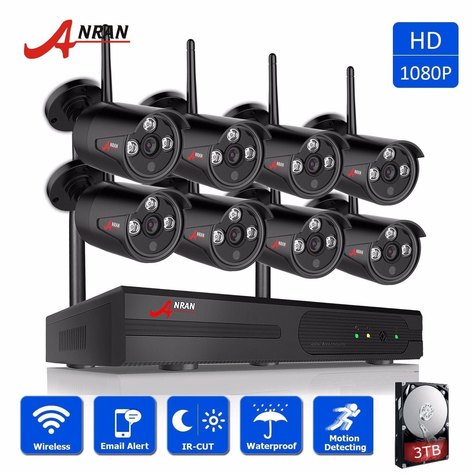Cheap Anran 8Ch Wireless 1080P Nvr 8Pcs 2 0Mp Ir Outdoor Waterproof P2P Wifi Security Camera System Surveillance Kit