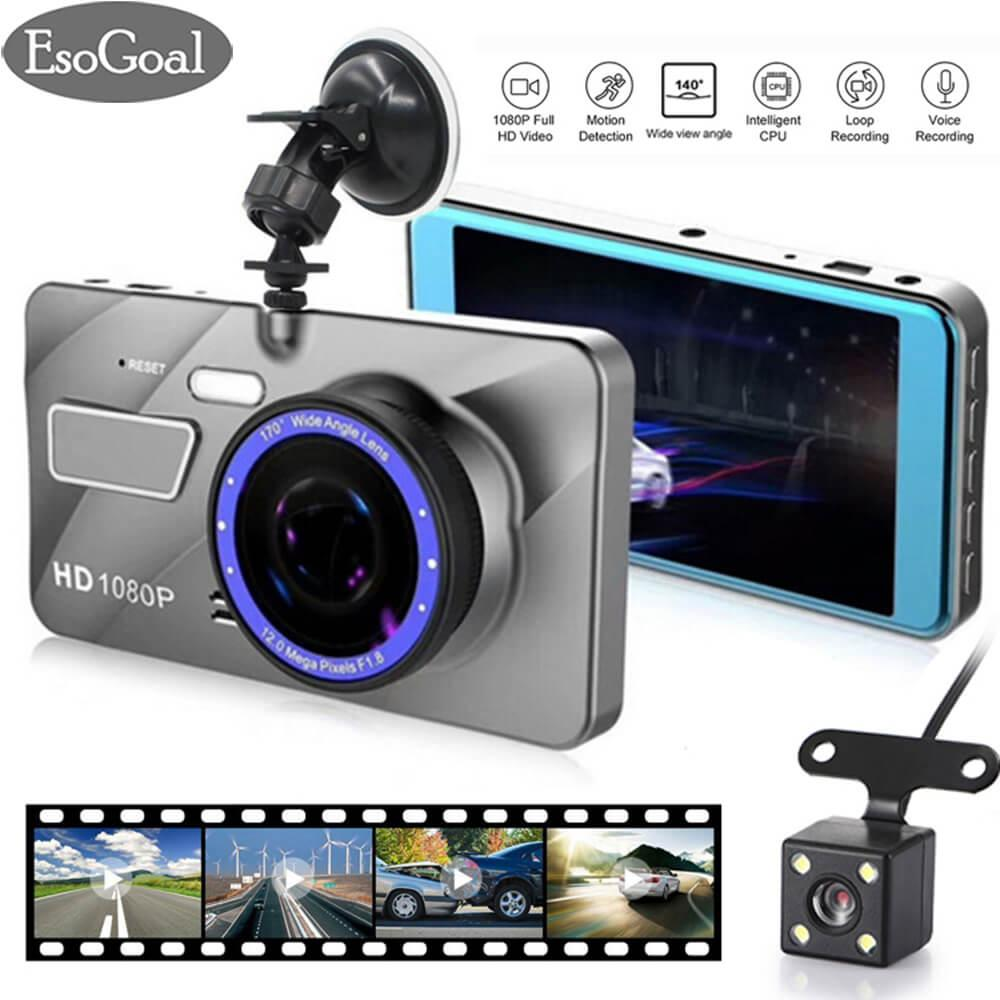 The Cheapest Esogoal Dual Lens Dash Cam Car Camera Recorder Full Hd 1080P Front 720P Rear Lens Super Wide Angle Car Dvr Dashboard Camera With 4 Screen Online