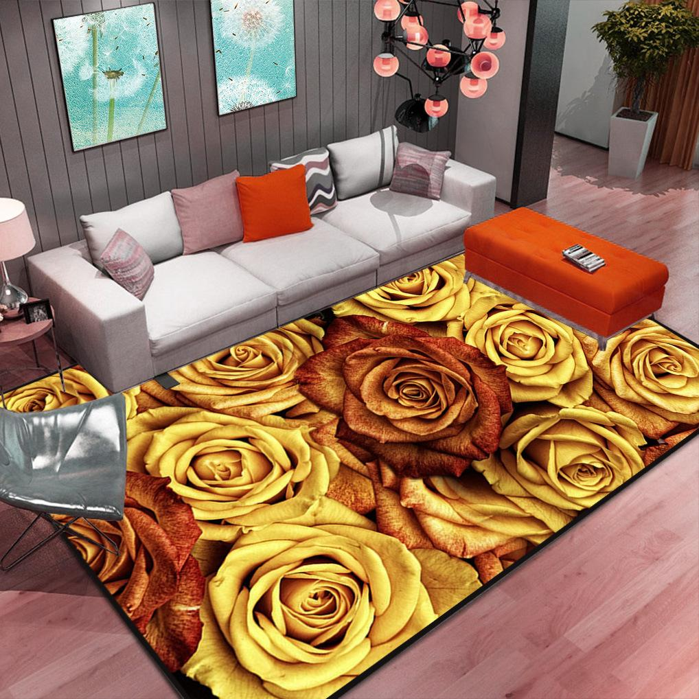 Nordic Abstract Flower Living Room Carpet Modern Minimalist European Tea Table Mat Bedroom Bedside Model Resistance Baby Play Mat 120x160cm