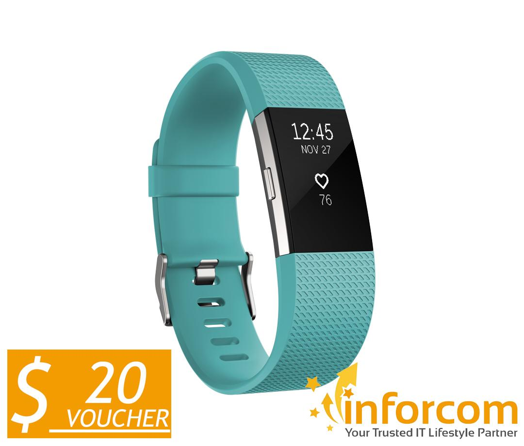 Fitbit Charge 2 Heart Rate Fitness Wristband Teal Silver Large On Singapore