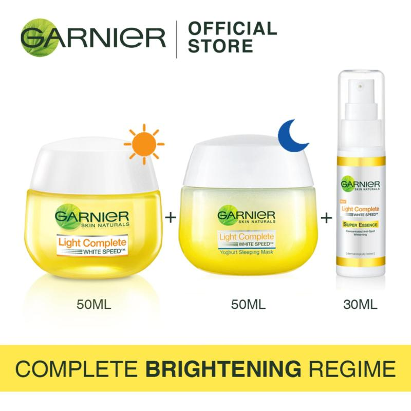 Buy [Complete Brightening Regime] Garnier Light Day Cream 50ml + Yogurt Sleeping Mask 50ml +  Super Essence 30ml Singapore