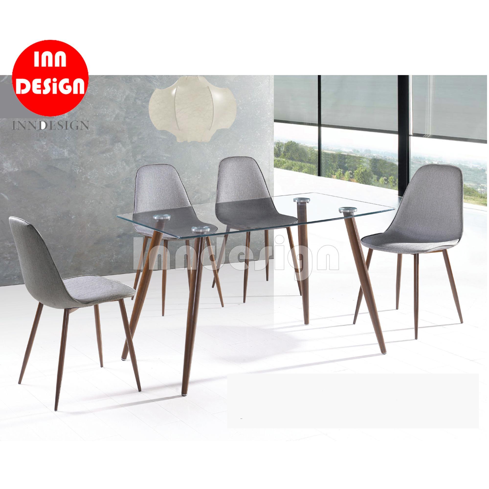 Alder Glass Top 1+4 Dining Table Set