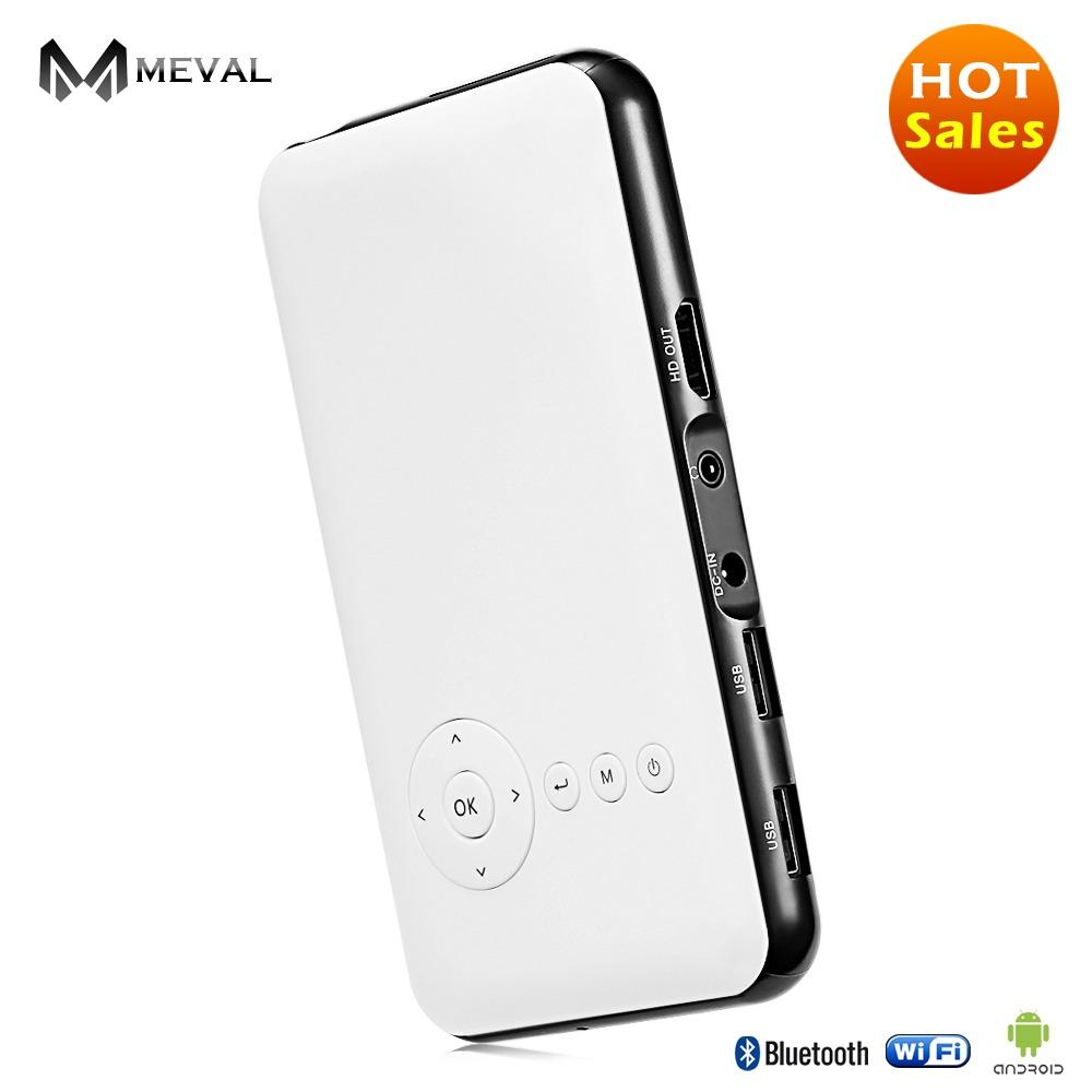 Coupon Meval S6 Portable Mini Pico Projector Android Wifi Bluetooth Wireless Mirror For Iphone Home Theater 1G 8G