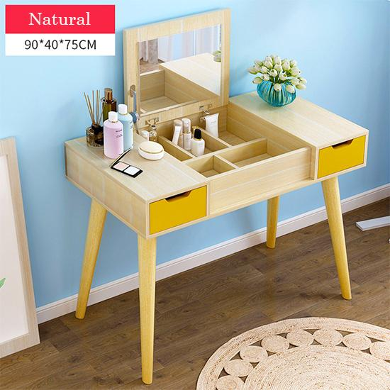 Natural Dressing Makeup Table With Fold Down Mirror  - 90cm